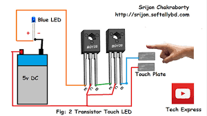 Touch Light Sensor Diy Led Touch Light Using 2 Transistor Diy Touch Sensor Simple