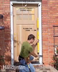 Exterior door casing Vinyl Photo 8 Tack In The Prehung Exterior Door Baystatewineco How To Replace An Exterior Door The Family Handyman