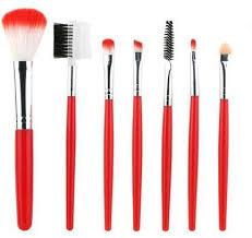 neworldline 1 set 7 pcs wood makeup brush makeup cosmetic tool beauty brushes red