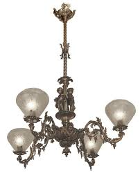 victorian chandelier neo rococo victorian 4 arm gas light allegorical gasolier ca 1850