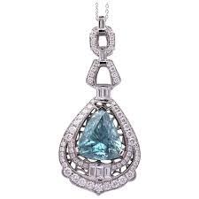 12ct blue zircon pendant in 18k white gold with diamonds gondwand opals ruby lane