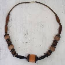 african necklace of terracotta and wood beads well done