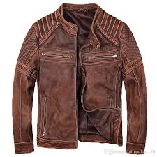 2018 2018 men vintage brown genuine leather biker jacket real thick cowhide slim fit short motorcycle leather jacket from humanhair116 402 0 dhgate com