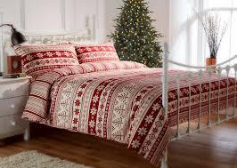 100 brushed cotton flannelette red nordic printed festive duvet set