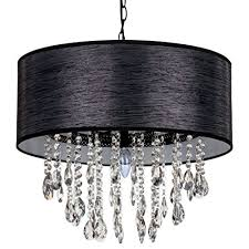 amalfi décor large luna 5 light crystal chandelier with drum shade beaded plug in pendant ceiling lighting fixture black