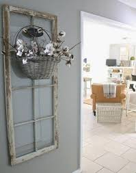 recycling old wooden doors vine window frames wall hanging flower basket creative decor