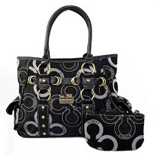 Coach Big C Stud Signature Medium Black Totes EJG