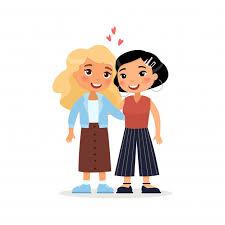 two young women or ian couple hugging international friends funny cartoon character premium