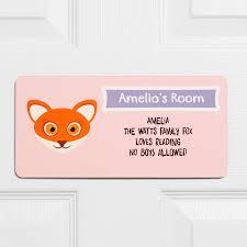 fox child s door sign
