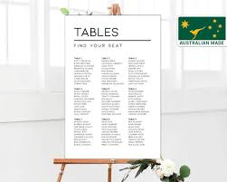 Modern Wedding Seating Chart Printed Shipped Australia Seating Plan Board Sign Minimalist Planner