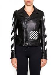 off white women s black white leather biker jacket wdiizgrzp