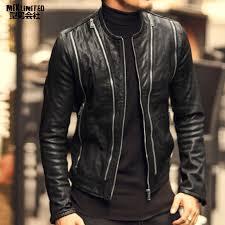 2018 men autumn fashion new multi zipper design slim leather jacket men s sheepskin motorcycle biker warm genuine leather jacket jackets coats 1