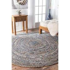 striped dara jute blue 8 ft x 8 ft round area rug