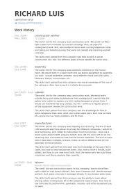Construction Worker Resume Samples VisualCV Resume Samples Database