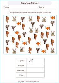 Online Tally Chart Counter Counting Animals Tally Chart Printable Grade 2 Math Worksheet