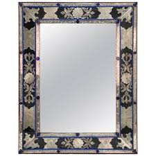 antique venetian mirror in blue clear and black murano glass