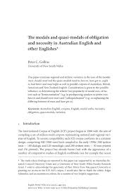 The Modals And Quasi Modals Of Obligation And Necessity In