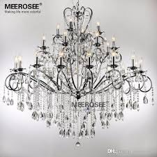 large 28 arms wrought iron chandelier crystal light fixture chrome re de sala crystal hanging lamp for foyer villa whole chandeliers led chandeliers