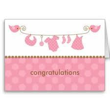 Baby Congrats Note Baby Pink Laundry Line Note Cards Greeting Card New Baby