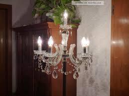 Wunderschöne Antike Messing Kristall Stehlampe 6 Flammig