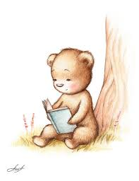 teddy painting drawing of teddy bear reading a book under tree by anna abramska
