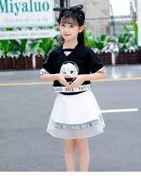 Trẻ Em Quần Áo Lưới Hoạt Hình Hàn Quốc Cho Bé Trai Lớn Và Bé Gái Xinh Đẹp  Quần Áo Sợi Cotton Cho Bé Gái Trang Phục 2 Món