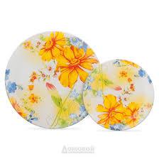 Купить <b>Тарелка HOME CAFE</b> Желтые цветы, 19см, стекло ...