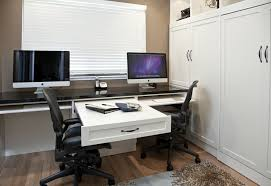 dual office desk Home Office Traditional with none. Image by: Valet Custom  Cabinets Closets