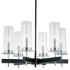 sonneman 4066 54 chrome black six light up lighting chandelier from the tuxedo c