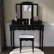 Corner Dressing Table Design Vanity Set Makeup Vanity Desk Dressing Table With Mirror Drawers And Stool For Corner Bedroom Girls In Black