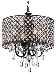 marya 4 light black metal round beaded drum chandelier hanging crystals contemporary chandeliers by edvivi llc