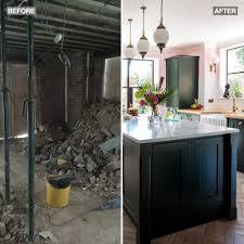 Basement Kitchen Makeover With Emerald Green Units Marble Worktops