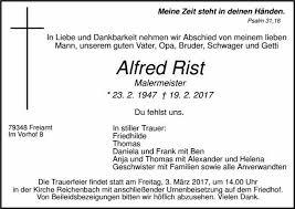 Alfred Rist Trauer Traueranzeigen Nachrufe Badische Zeitungde