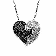 t w enhanced black and white diamond puzzle heart pendant in 10k white gold
