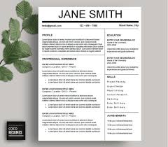 one page resume template cv template for ms word by cocoresumesone page resume template   cv template for ms word  mac or pc  professional