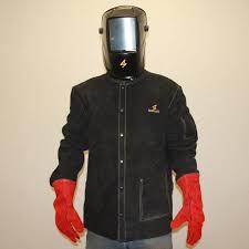 sparcweld black leather welding jacket