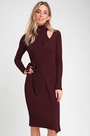 Minuet Burgundy Wrap Midi Sweater Dress
