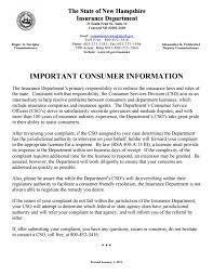 New Hampshire Insurance Commissioner Complaint
