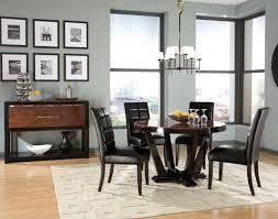 remarkable round two tone high gloss finish gany wood contemporary dining table and four black leather dining chairs sets using square tapered dark