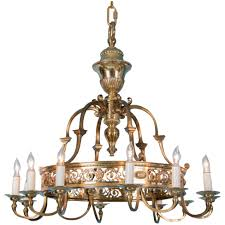 antique 12 light brass chandelier from denmark