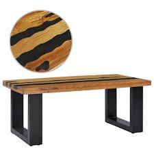 vidaXL <b>Coffee Table 100x50x40</b> cm Solid Teak Wood and Lava Stone