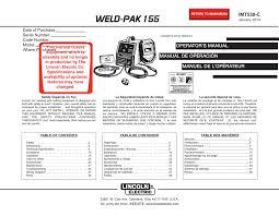 Lincoln Electric Weld Pak 155 User Manual Manualzz Com
