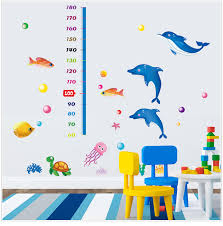 Bathroom Chart For Kids Us 6 72 6 Off Diy Underwater World Fish Height Chart Rule Wall Stickers Kids Rooms Nursery Bathroom Animal Measure Height Home Decor Poster In Wall