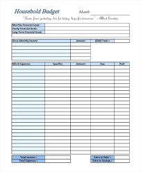 Create A Household Budget Template Personal Financial Budget Sheet