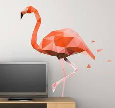 geometric pink flamingo wall art decal