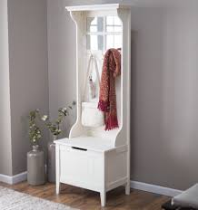 Coat Rack Bench With Mirror Elegant White Painted Wooden Foyer Bench Decor With Four Panel 22