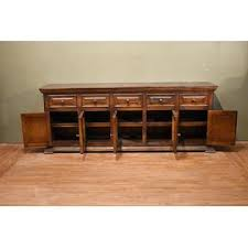Crafters U0026 Weavers Industrial Distressed Solid Wood 83 Inch Tv Stand Entertainment Center Or Sideboard Console