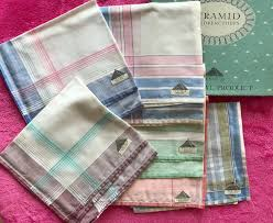 Handkerchief — a handkerchief (also called handkercher or hanky) is a form of a kerchief, typically a square of fabric that can be carried in the pocket, for personal hygiene purposes such as wiping one s. Vintage 1950s Handkerchiefs Dapper Gent Tootal Pyramid Box Of 6 Retired Stock A1 35 00 Fabulous Vintage Too Vintage Handkerchiefs Pyramid Box Pocket Square