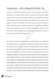 innocence essay life is beautiful and mr pip year hsc  innocence essay life is beautiful and mr pip