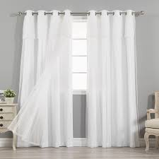 Aurora Home MIX & MATCH CURTAINS Nordic White Privacy and Sheer Grommet  Curtain Panel Pair